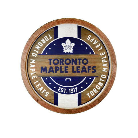 Toronto Maple Leafs NHL Wooden Barrel Wall Sign