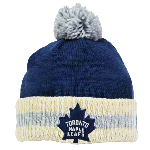 Toronto Maple Leafs Stripe Cuffed Pom Knit Toque