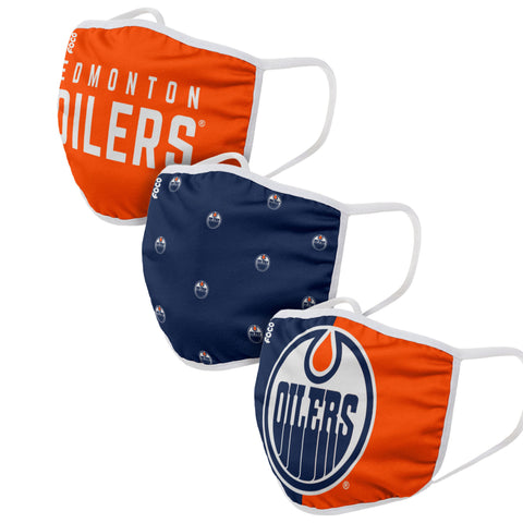 Unisex Edmonton Oilers NHL 3-pack Reusable Face Covers