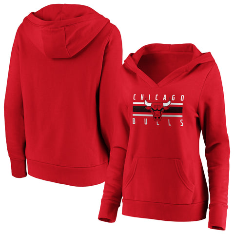 Ladies' Chicago Bulls NBA Stacked Stripes Notch Neck Hoodie