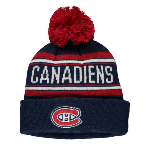 Youth Montreal Canadiens NHL Wordmark Jacquard Cuffed Knit Pom Pom Toque