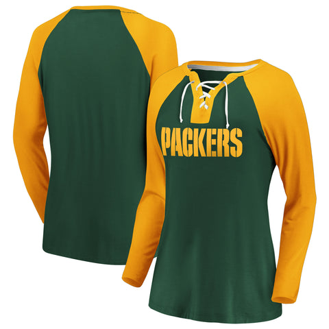 Ladies' Green Bay Packers NFL Fanatics Break Out Play Lace-Up Long Sleeve
