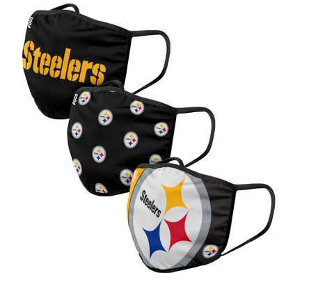 Unisex Pittsburgh Steelers NFL 3-pack Resuable Gametime Face Covers