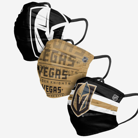 Unisex Vegas Golden Knights NHL 3-pack Reusable Pleated Matchday Face Covers