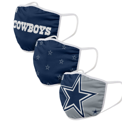 Unisex Dallas Cowboys NFL 3-pack Resuable Gametime Face Covers