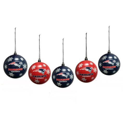 New England Patriots Snowflake 5-pack Shatterproof Ball Ornament Set
