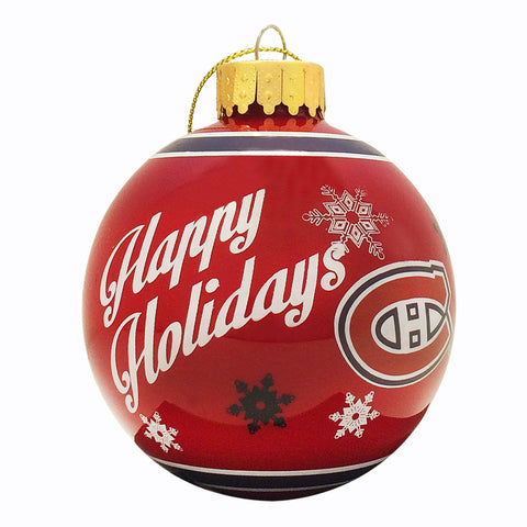 Montreal Canadiens Printed Glass Ball Ornament