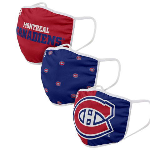 Unisex Montreal Canadiens NHL 3-pack Reusable Face Covers