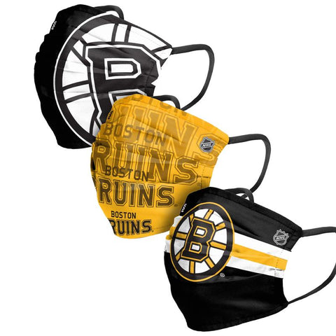 Unisex Boston Bruins NHL 3-pack Reusable Pleated Matchday Face Covers