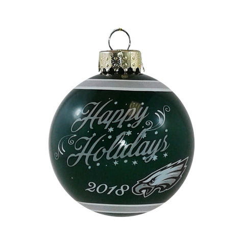 Philadelphia Eagles NFL Happy Holidays Glass Ball Ornament