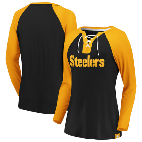 Ladies' Pittsburgh Steelers NFL Fanatics Break Out Play Lace-Up Long Sleeve