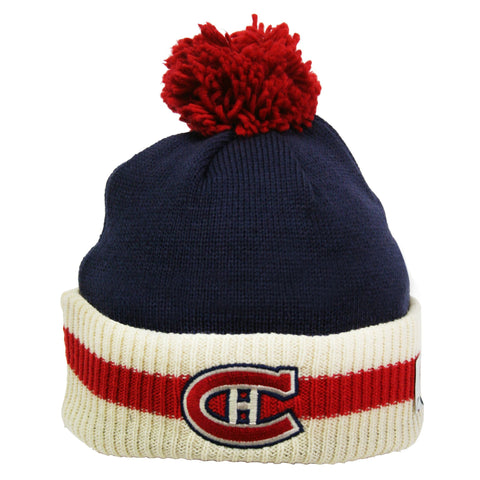 Montreal Canadiens Stripe Cuffed Pom Knit Toque