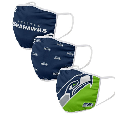 Unisex Seattle Seahawks NFL 3-pack Resuable Gametime Face Covers