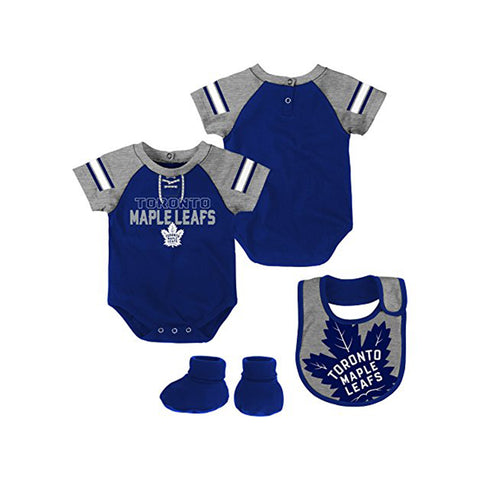 Infant Toronto Maple Leafs NHL Little D-Man 3 Piece Creeper Set