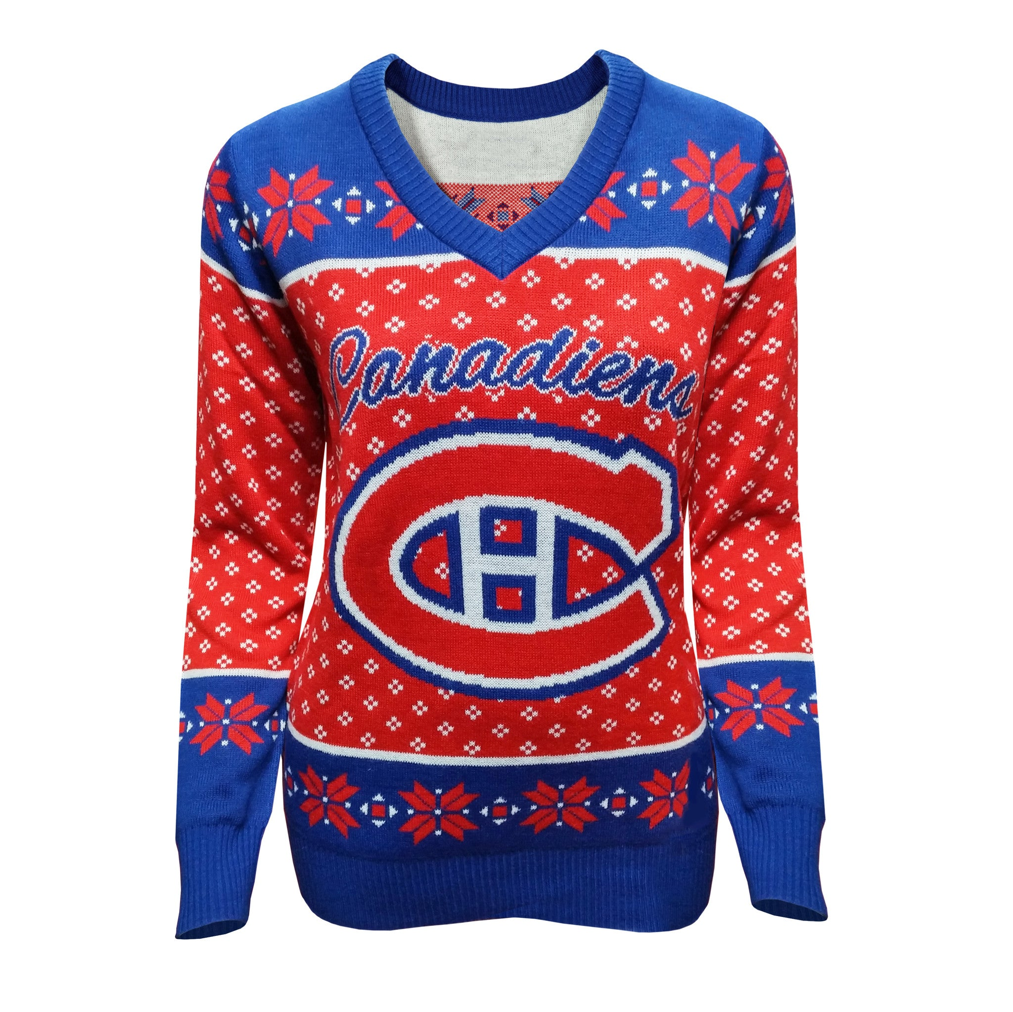 big sale 1eb5f 3f926 Montreal Canadiens Women's V-Neck Ugly Sweater