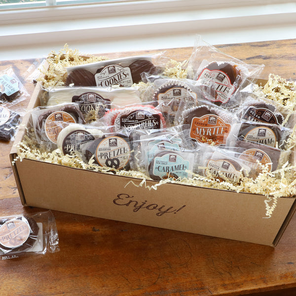 Buttery Caramel, crunchy milk-white-dark chocolate covered pretzels, cookies, Giant Peanut Butter Cup, and 3 Giant Myrtles