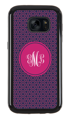 Clover Navy and Pink Monogram