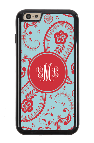 Paisley Light Blue and Red Monogram