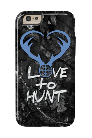 Love to Hunt Blue on Black