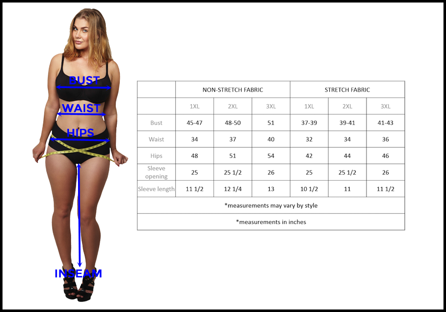 plus size clothing size chart