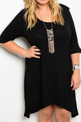 plus size asymmetrical hem dress with long sleeves