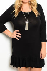 plus size black dress with long sleeve
