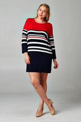 plus size long sleeve dress colorblock