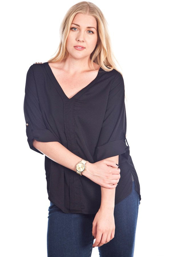 Plus Size Black V-Neck With Shoulder Stud Embellishment Top