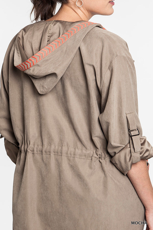 plus size mocha soft shell jacket