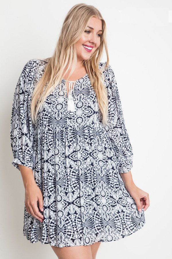2ca2c8e8738 Plus Size Navy White Printed Smock Dress