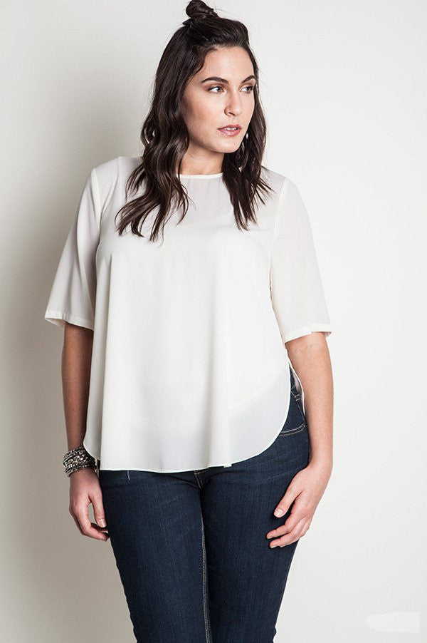 plus size basic white top with hi-low hem