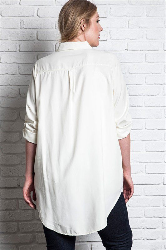 women's plus size collared button-up cream off-white tunic