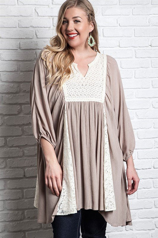 plus size long sleeve latte dress tunic with lace detail