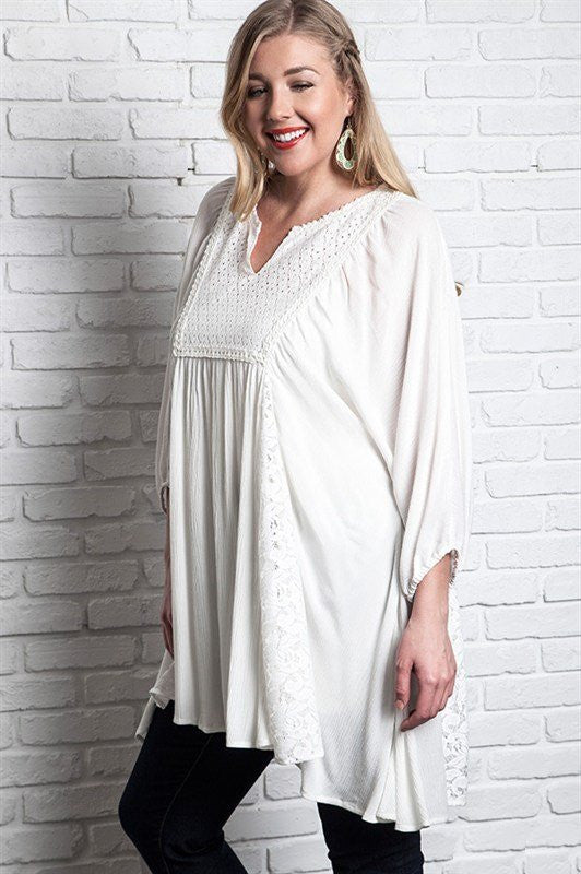 plus size long sleeve white dress tunic with lace detail