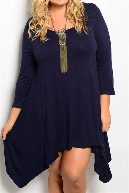 plus size navy asymmetrical hem dress