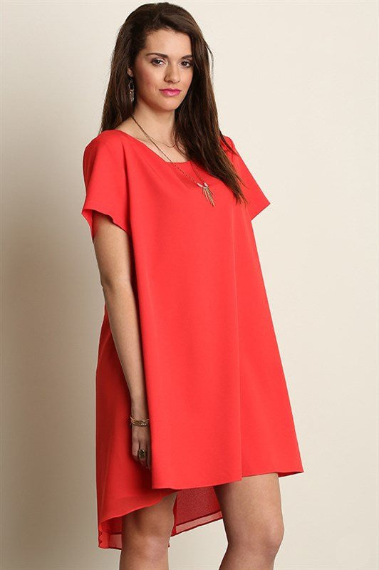 plus size short sleeve a line hi lo red dress
