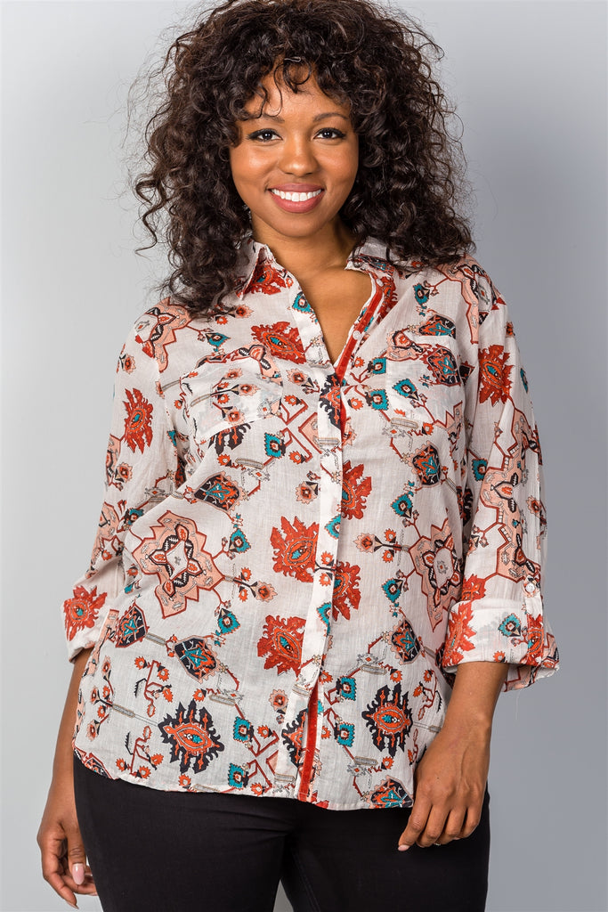 Plus Size Multi-Print Roll-Sleeve Top