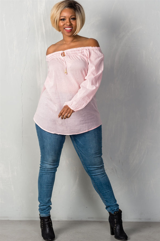 Plus Size Boho Contemporary Off the Shoulder Top