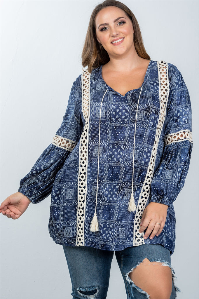 Ladies fashion plus size boho mix print tassel crochet trim top