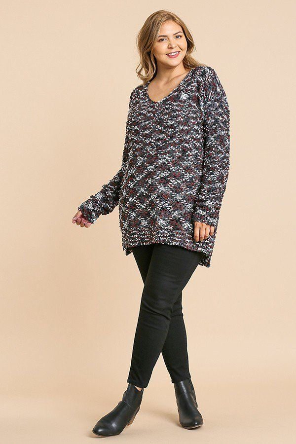 Multicolor Long Sleeve V-Neck Soft Knit Tunic Sweater