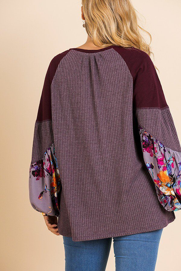 Floral Print Puff Sleeve Knit Top
