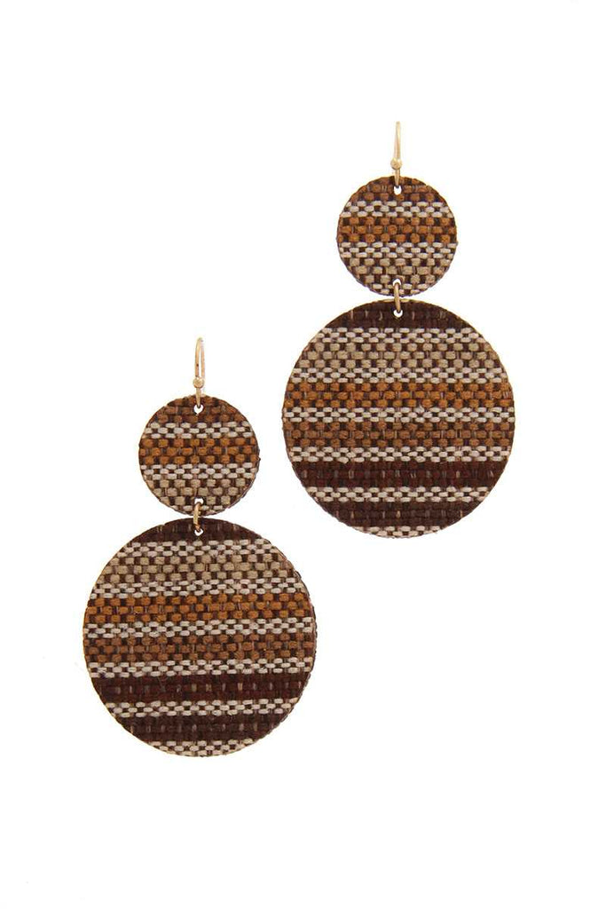 Double Circle Fabric Drop Earring