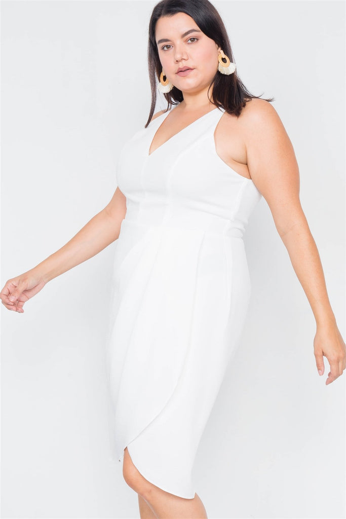 Plus Size  Mock Wrap V-neck Mini Dress