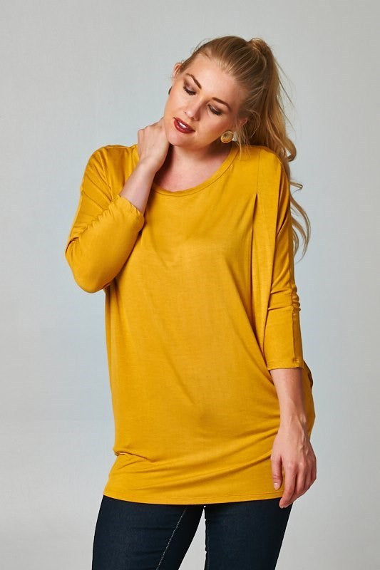 women's plus size long sleeve basic solid top in mustard