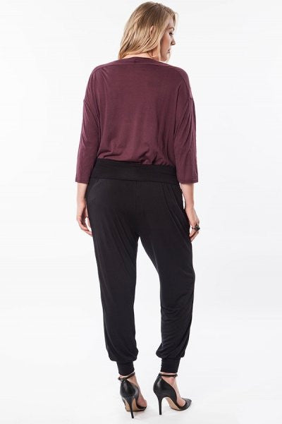 Plus Size Black Tapered Harem Pants with Fold-Over Waist