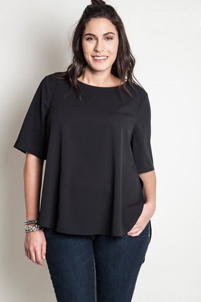 plus size basic black top with hi-low hem