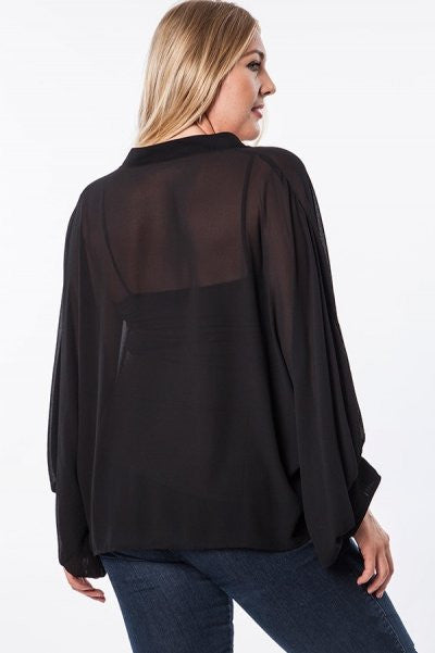 Plus Size Semi Sheer Bishop Sleeve Top - Black - DeSarti.com