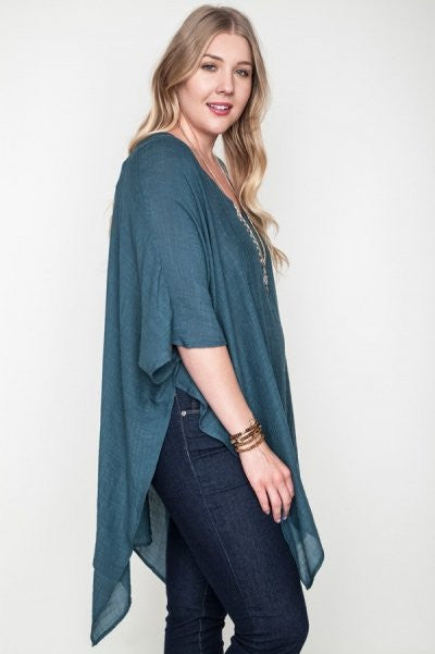 Plus Size Semi Sheer V-Neck Caftan - Seaweed