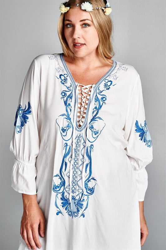 Plus Size 3/4 Sleeve Embroidered Long Tunic - DeSarti.com