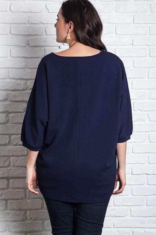 plus size navy v-neck and 3/4 sleeves tunic